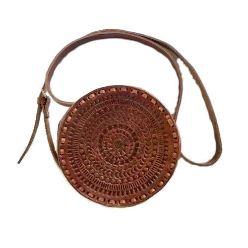 Aria Round Leather Hand Tooled Crossbody Bag, Crossbody Bag - KITTY KAT,