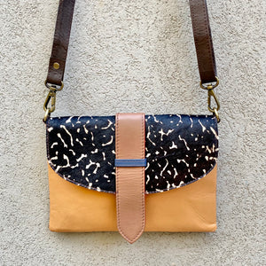 Dakota Cowhide and Leather Crossbody Clutch Bag - Black, Apricot, Wine - KITTY KAT