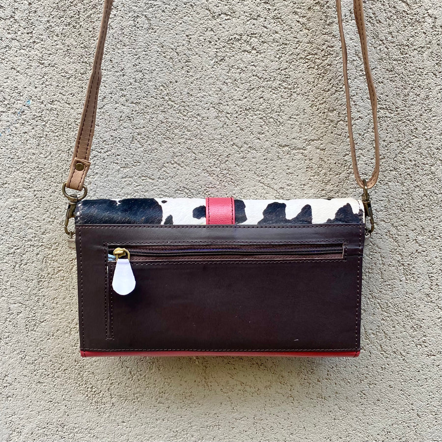 Pixie Cowhide and Leather Crossbody Wallet Clutch Bag- Black, White, Rose Pink, Chocolate - KITTY KAT