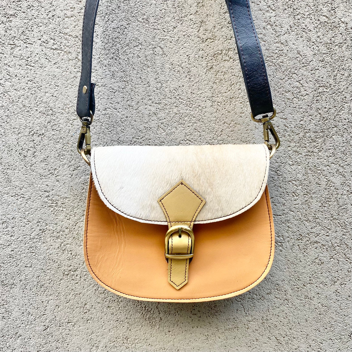 Jupiter Cowhide and Leather Crossbody Clutch Bag - White, Peach, Slate Grey, Clutch Bag - KITTY KAT,