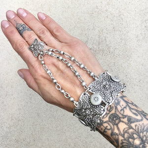 Lacy Boho Flower Ring and Bracelet Cuff, Ring Bracelet Cuff - KITTY KAT,