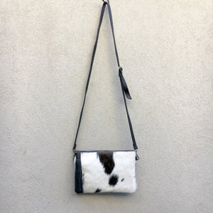 Azalea Reversible Cowhide Crossbody Clutch Bag - Black White, Clutch Bag - KITTY KAT,