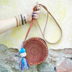 Aria Round Leather Hand Tooled Crossbody Bag - KITTY KAT