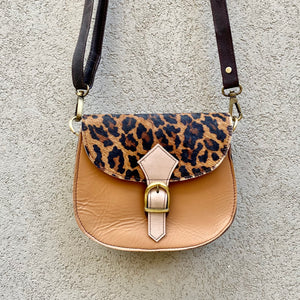 Jupiter Cowhide and Leather Crossbody Clutch Bag - Leopard, Pale Grey - KITTY KAT