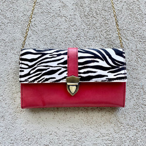 Pixie Cowhide and Leather Crossbody Wallet Clutch Bag- Zebra, Pink, Black, wallets - KITTY KAT,