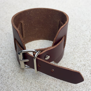 John Dark Tan Leather Mens Buckle Cuff, Cuff - KITTY KAT,