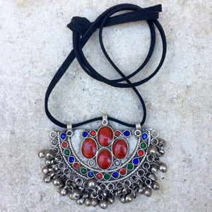 Boho Kuchi Vintage Choker on Suede - Red Stones, Choker - KITTY KAT,