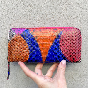 Sophia Python Snake Skin Leather Wallet - Blue Orange Multi, wallets - KITTY KAT,