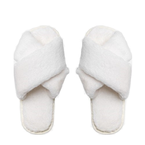Evie White Fluffy Slippers, Slippers - KITTY KAT,