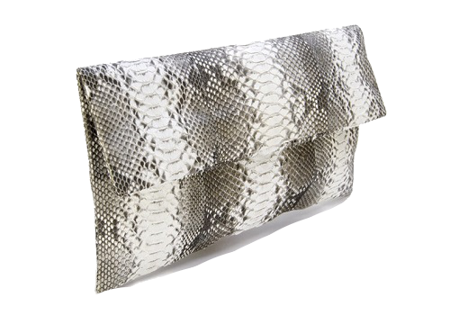 Lucy Pythonskin Envelope Clutch - Natural