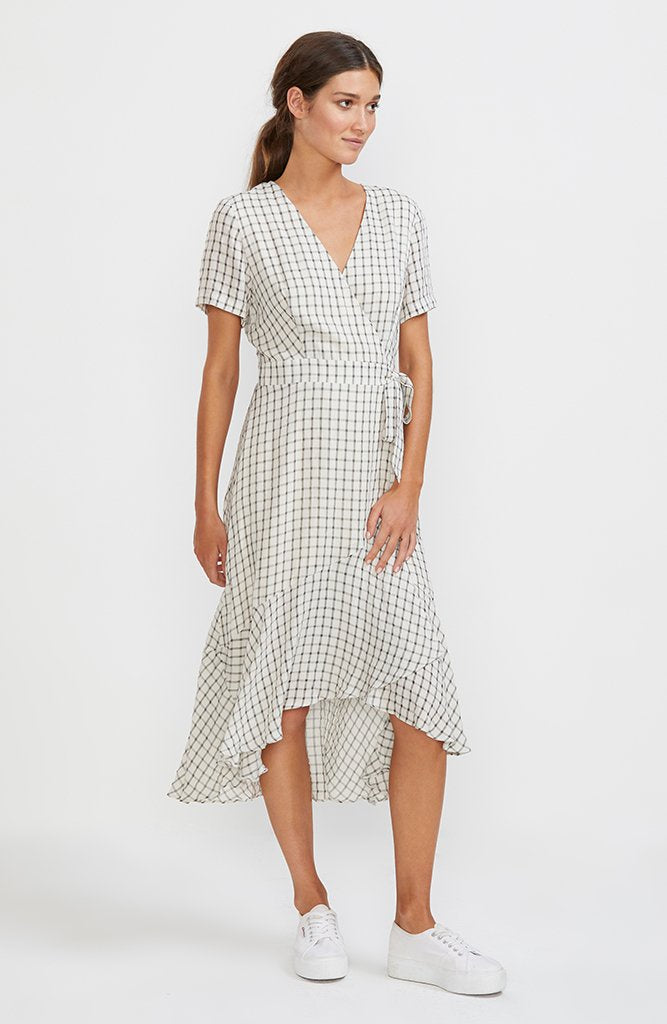 Check Mate Wrap Midi Dress