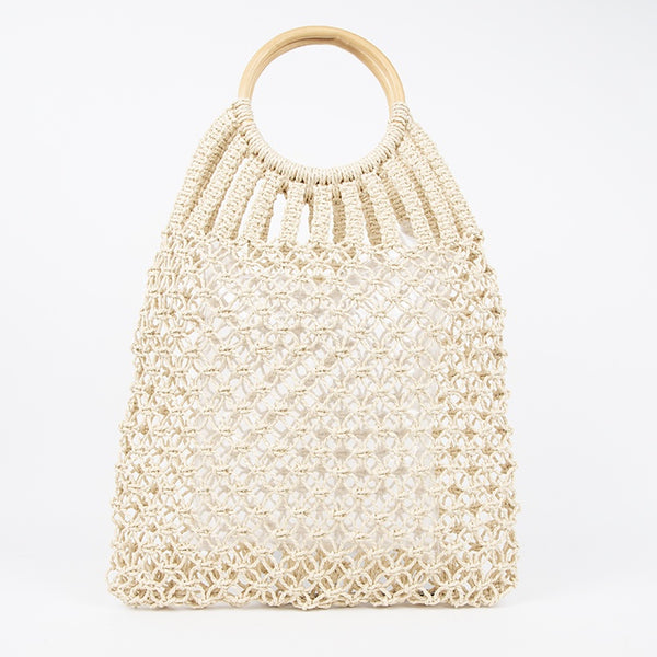Knotted Open Weave Timber Ring Market Bag (2458290421841)