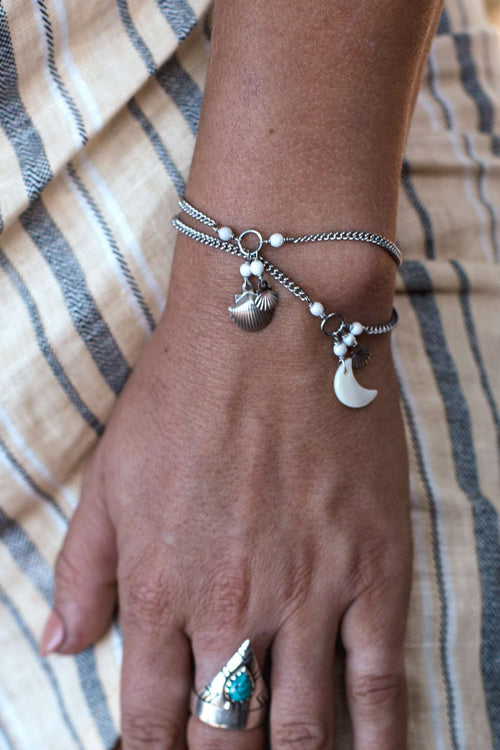 Shell Moon and Silver Shell bracelet, Bracelet with  by Lunarsea Designs