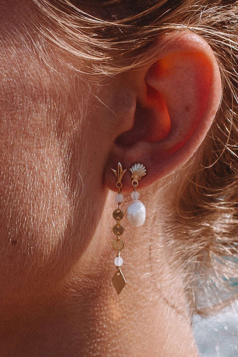 Gold Fill Shell & Pearl Studs, Earrings with rose quartz by Lunarsea Designs