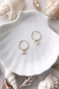 Gold Fill Two Pearl Hoops, Earrings with  by Lunarsea Designs