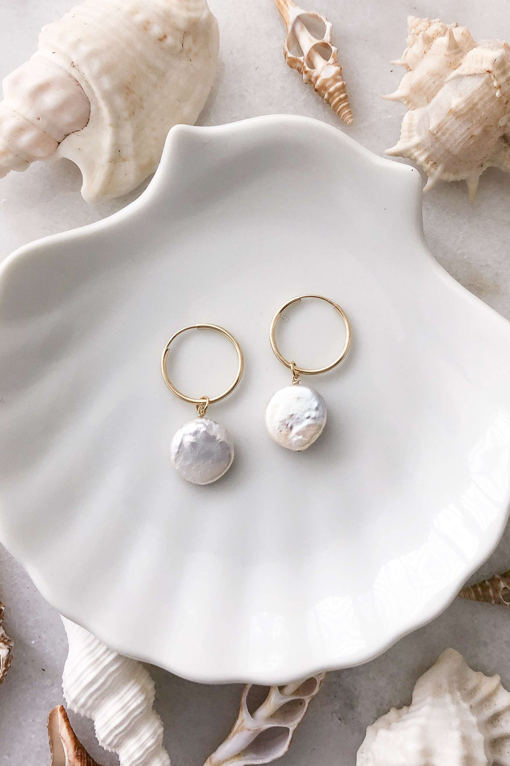 Gold Fill Round Pearl Hoops, Earrings with  by Lunarsea Designs