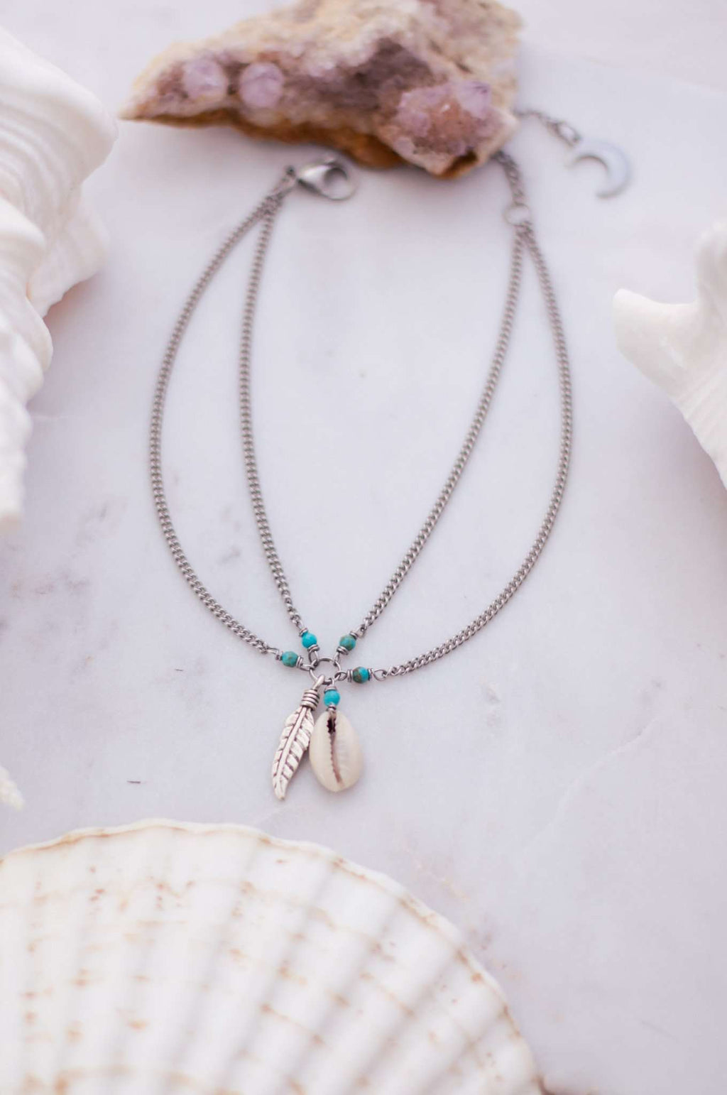 Cowrie + Feather Anklet