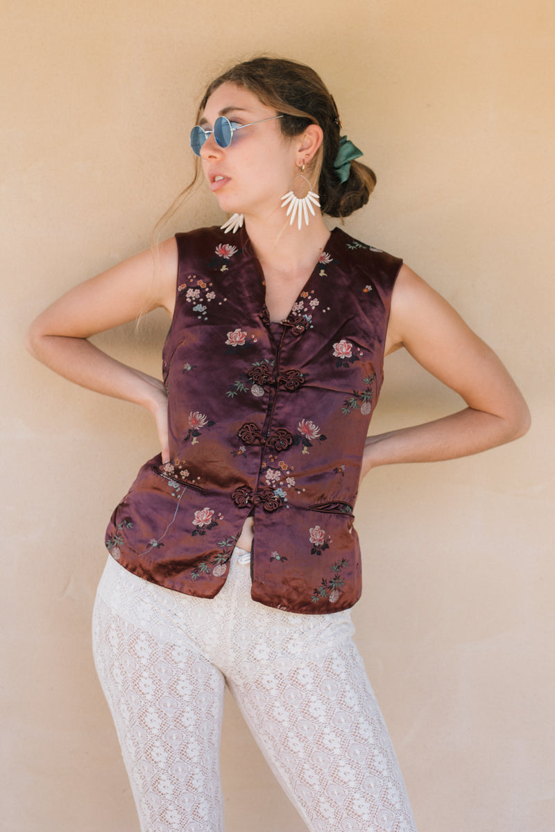 Vest - Brown Oriental Silk