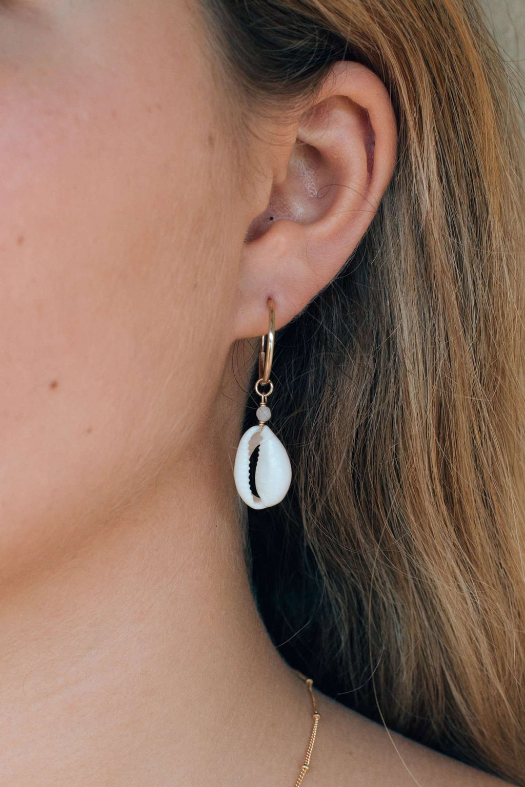 Gold Fill Cowrie Shell Hoops, Earrings with  by Lunarsea Designs