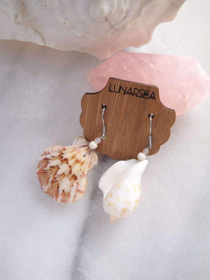 Castaway Shell Earrings, Earrings with Scallop & Cone Shell with Howlite & Rose Quartz by Lunarsea Designs
