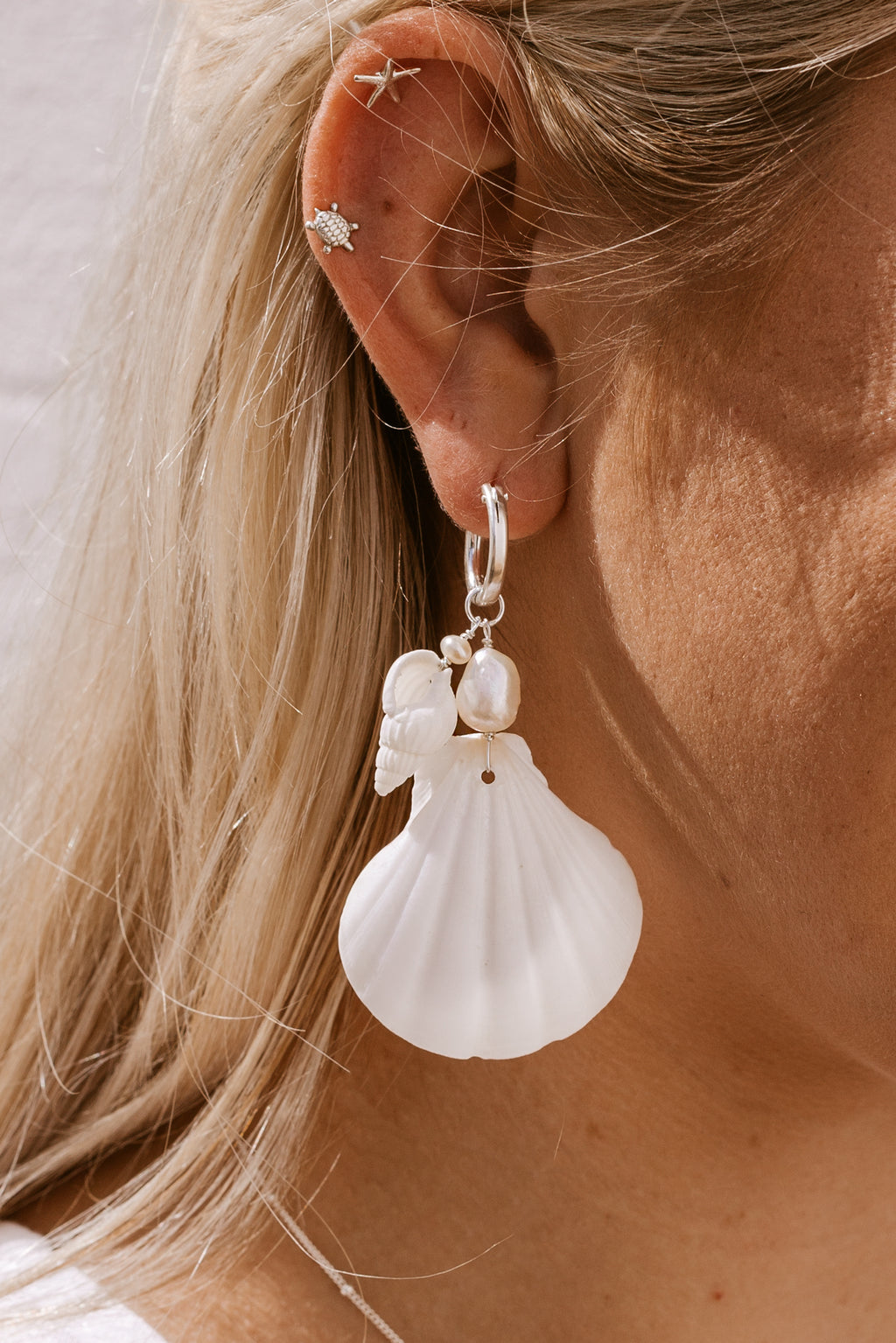 Castaway Shell & Pearl Click Hoops - Sterling Silver