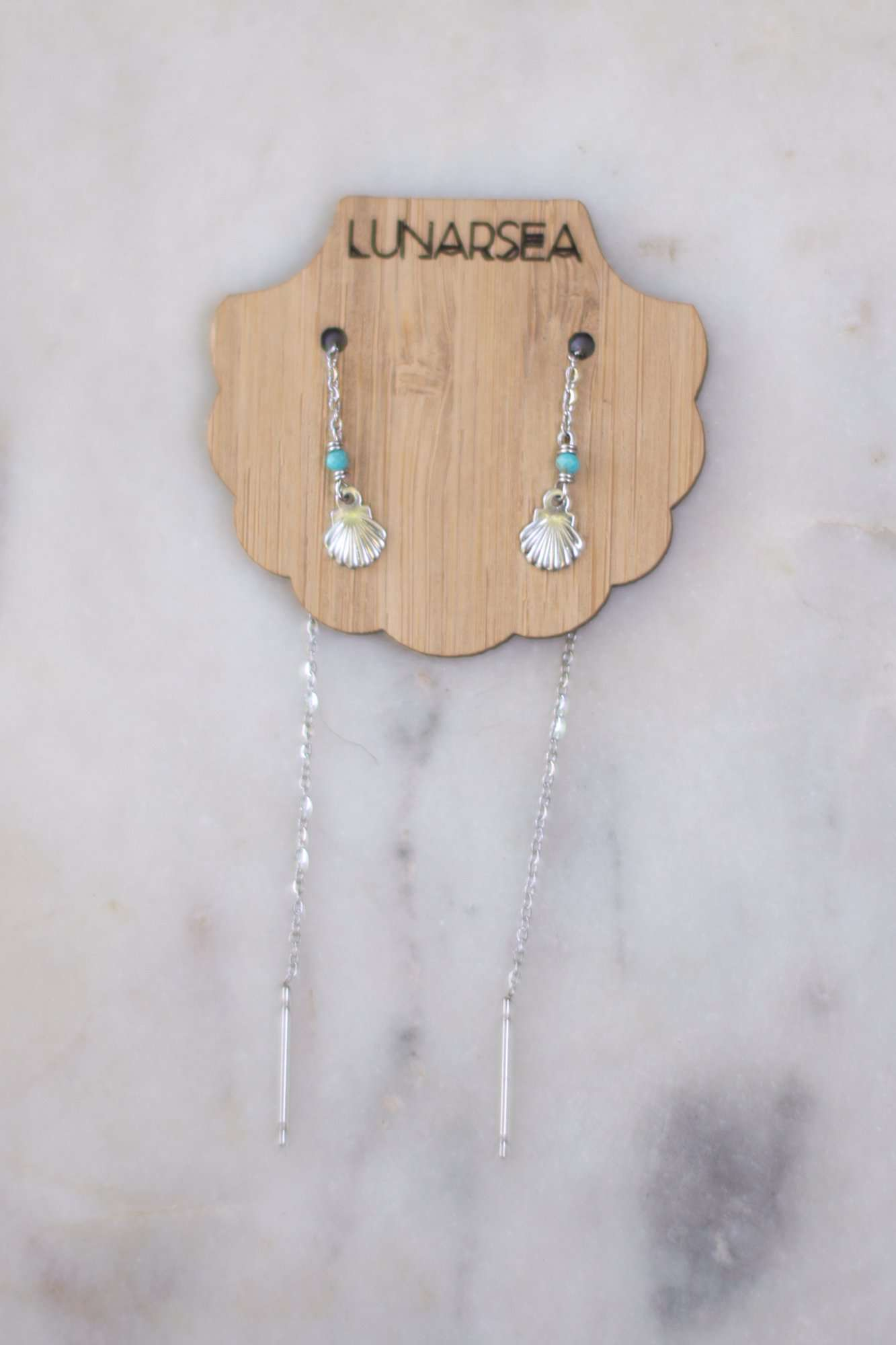 Tiny Shells Ear Threads, Earrings with Turquoise by Lunarsea Designs