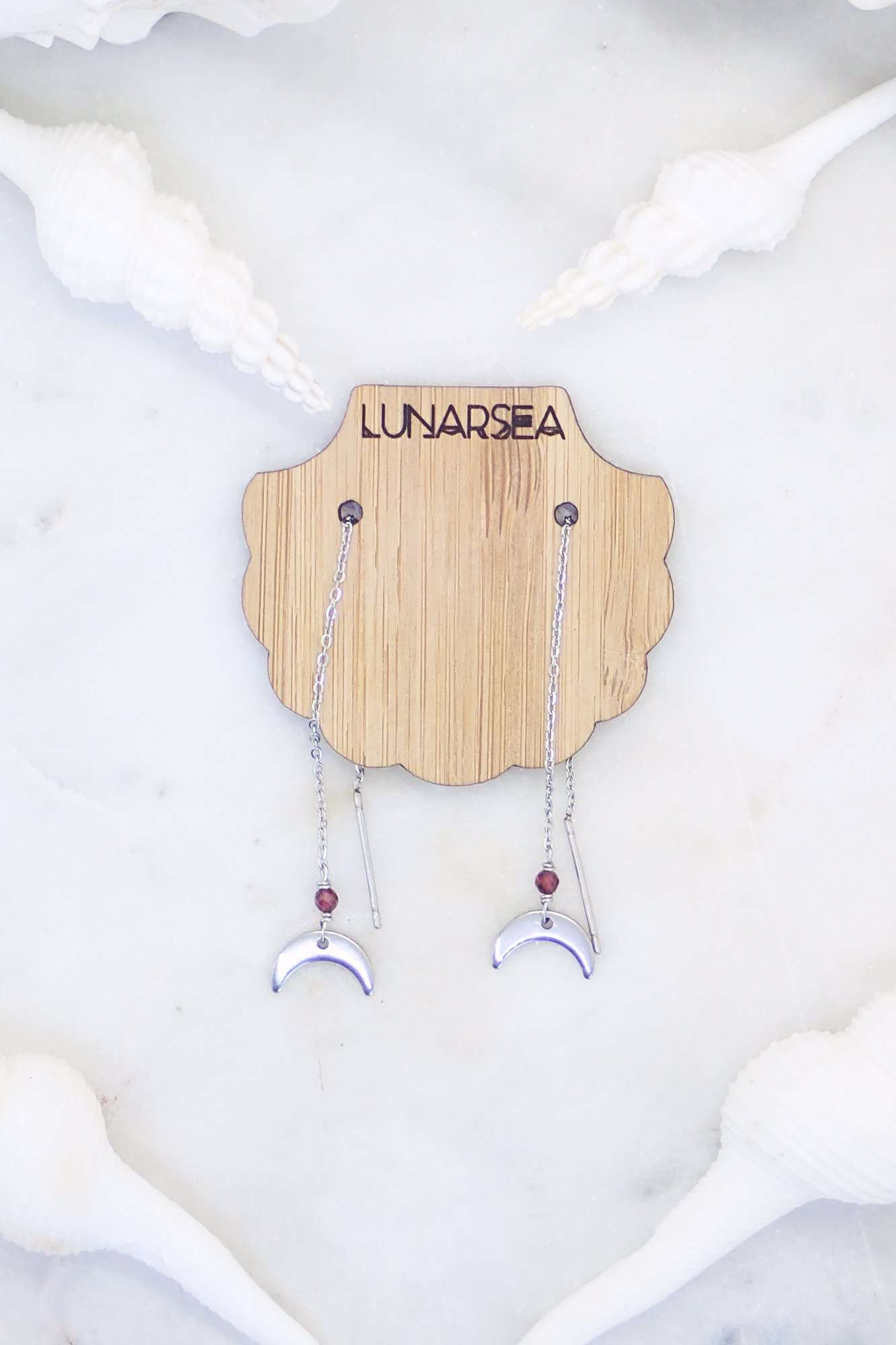 Silver Crescent Moon Thread Earrings, Earrings with Garnet by Lunarsea Designs
