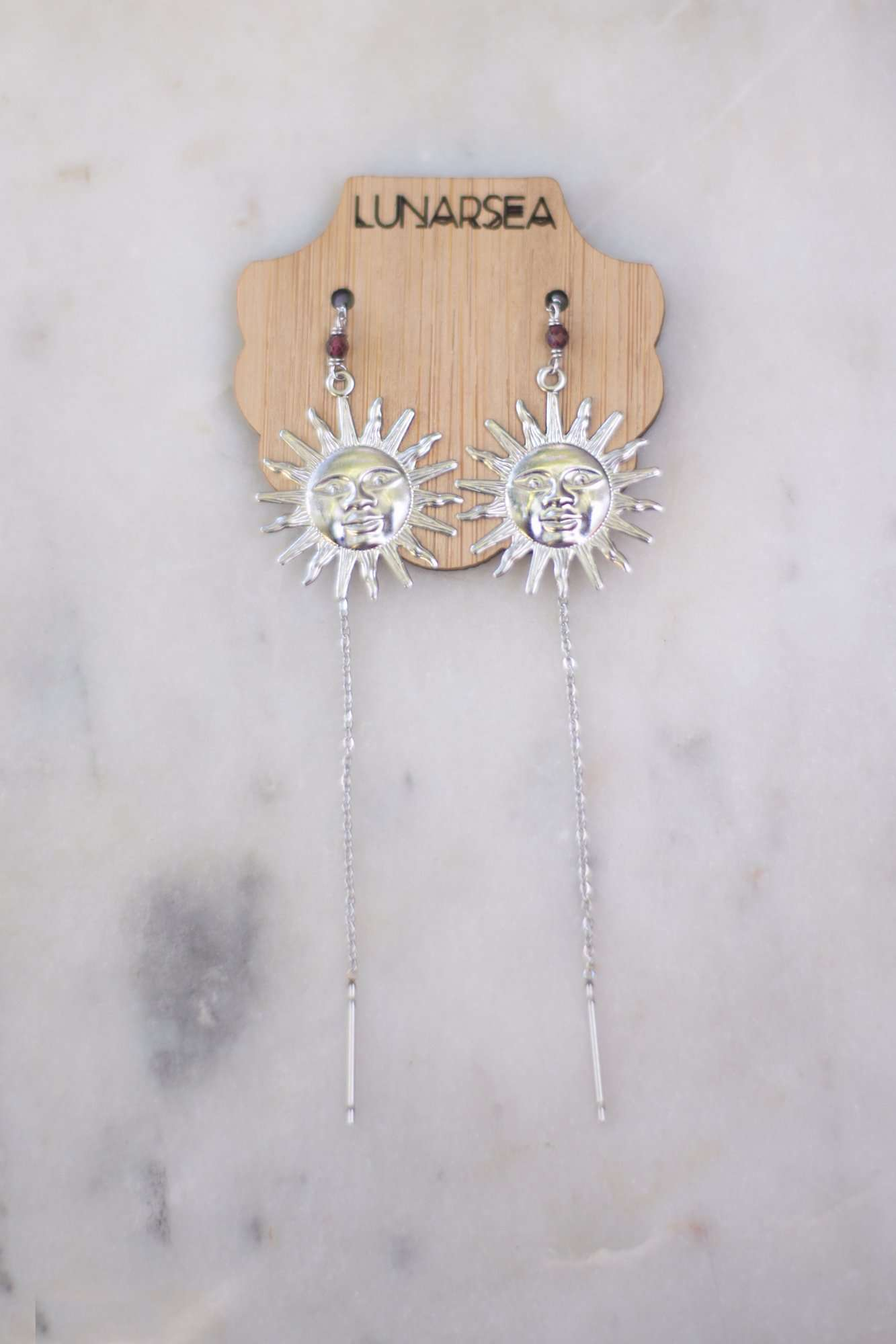 Sun Face Ear Threads, Earrings with Garnet by Lunarsea Designs