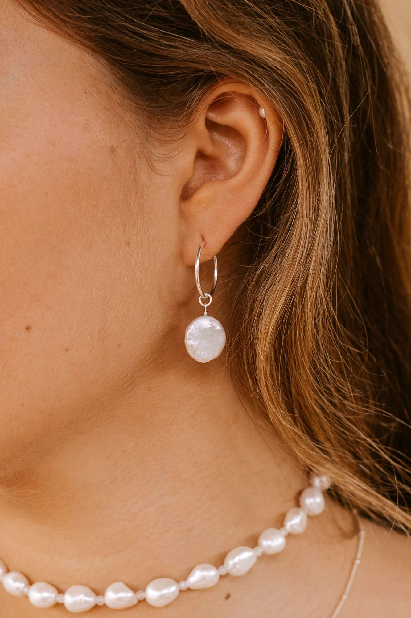 Round Pearl Hoops - Silver, Earrings with  by Lunarsea Designs