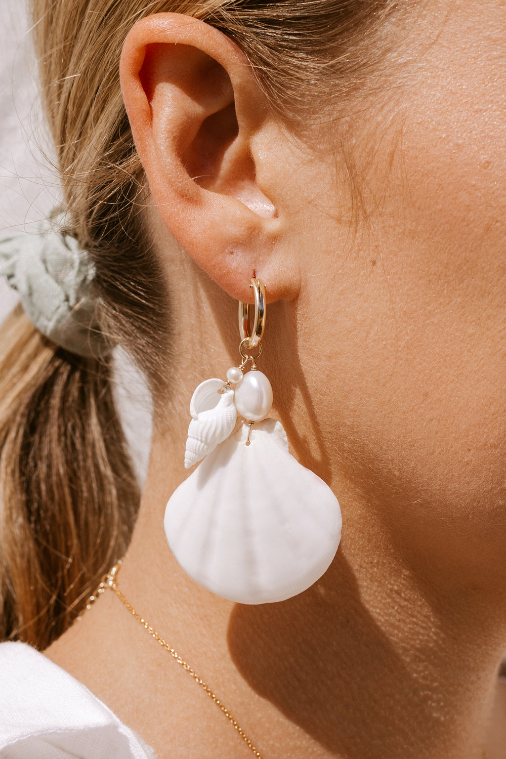 PREORDER Castaway Shell & Pearl Click Hoops - Gold fill
