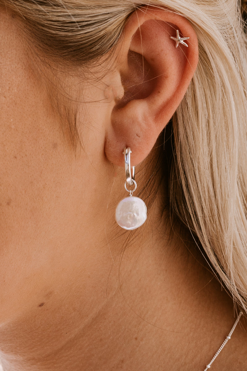 Round Pearl Click Hoops - Sterling Silver