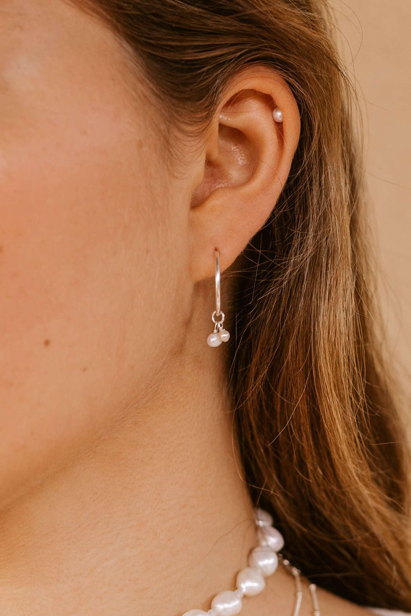 Two Pearl Hoops - Sterling Silver, Earrings with  by Lunarsea Designs