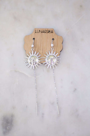 Sun Face Ear Threads, Earrings with Howlite by Lunarsea Designs