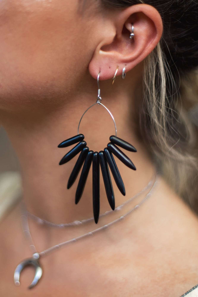 Howlite Spike Hoop Earrings, Earrings with Black by Lunarsea Designs