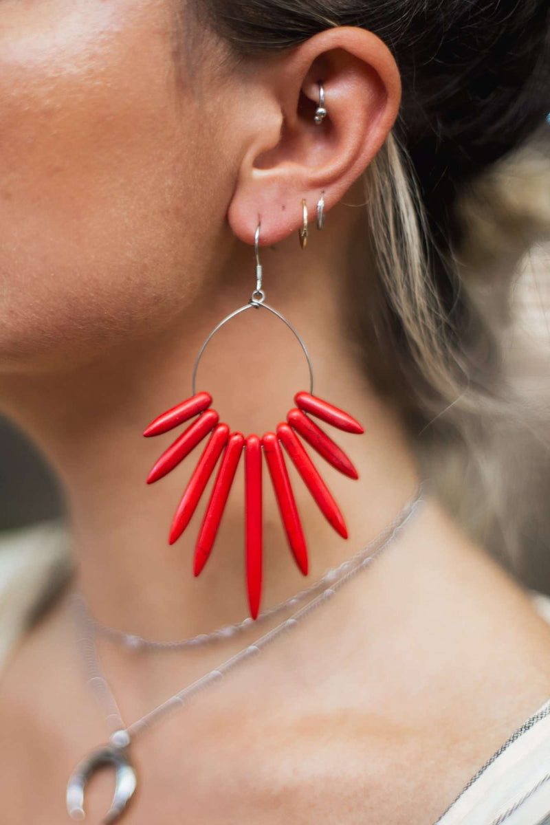 Howlite Spike Hoop Earrings, Earrings with Red by Lunarsea Designs