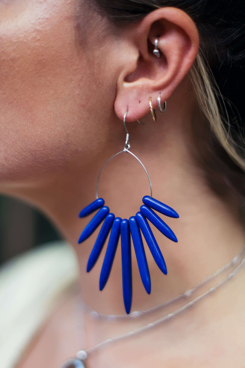 Howlite Spike Hoop Earrings, Earrings with Lapis Blue by Lunarsea Designs