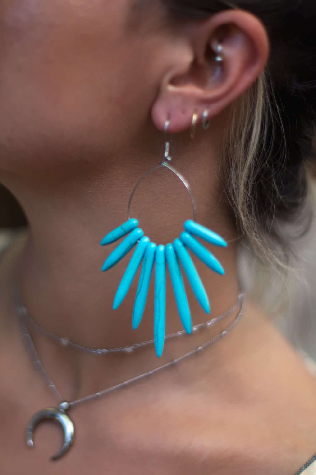 Howlite Spike Hoop Earrings, Earrings with Blue by Lunarsea Designs
