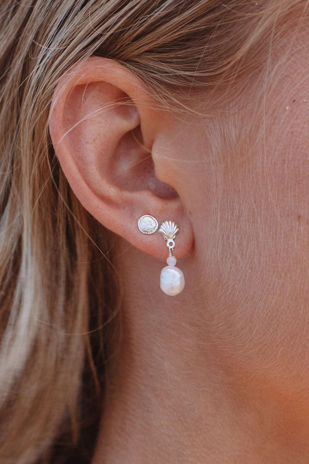 Sterling Silver Shell & Pearl Studs, Earrings with  by Lunarsea Designs