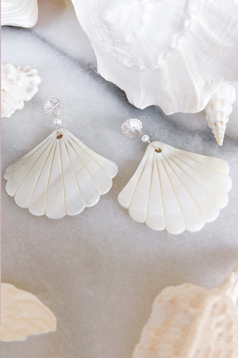 Sand Dollar & Pearl Shell Studs - Sterling Silver - Large
