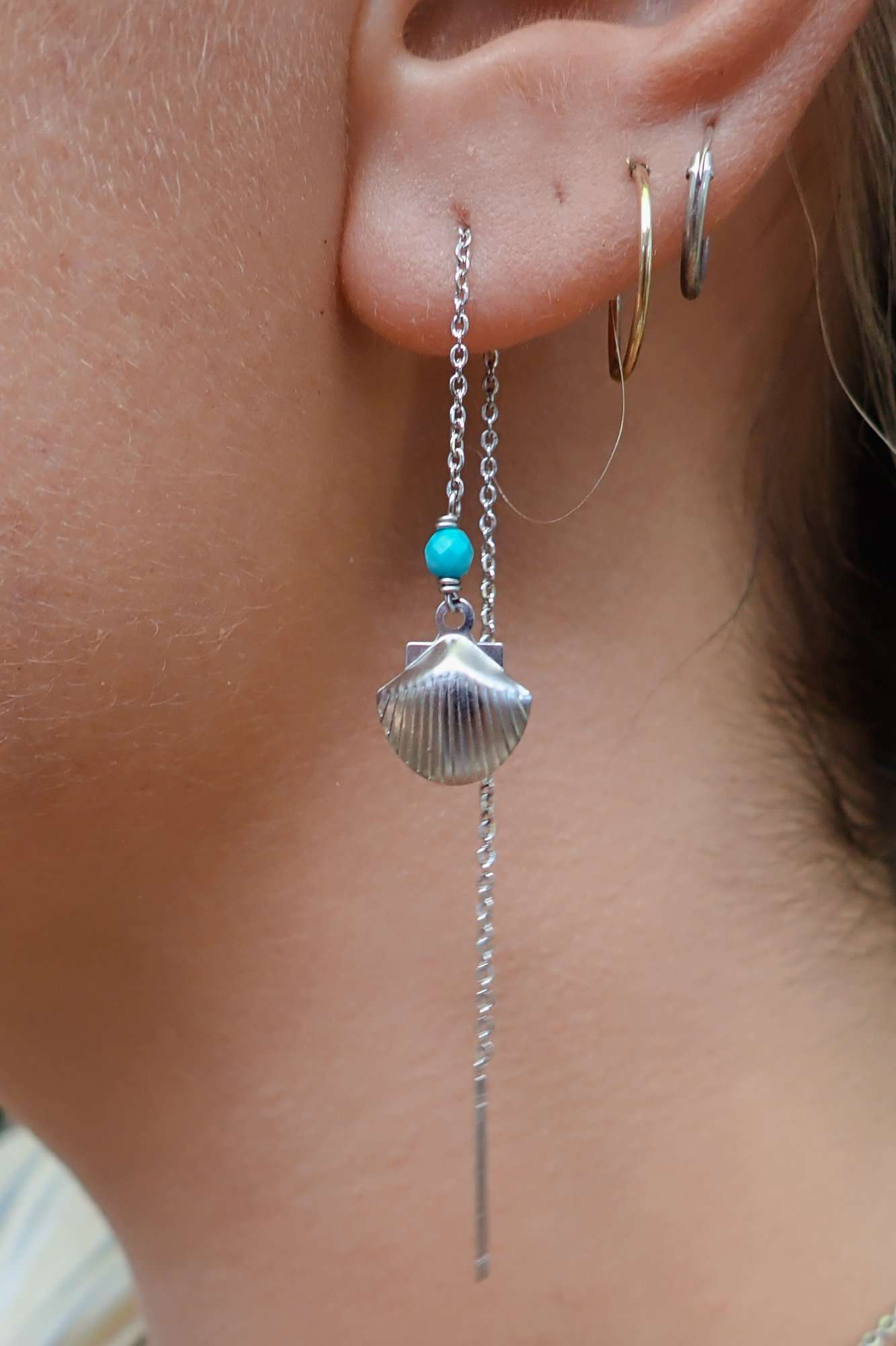 Silver Shell Ear Threads, Earrings with Turquoise by Lunarsea Designs