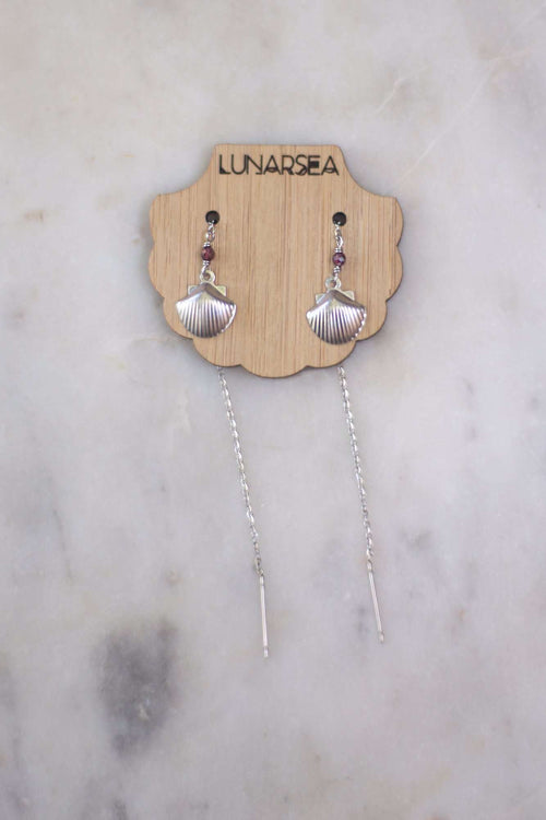 Silver Shell Ear Threads, Earrings with Garnet by Lunarsea Designs