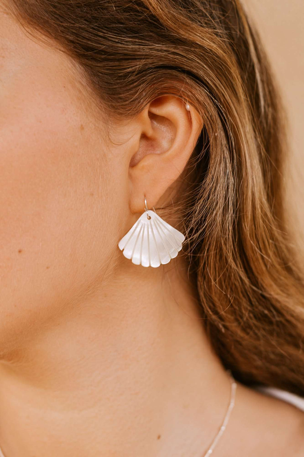 Pearl Shell Earrings - Silver, Earrings with  by Lunarsea Designs