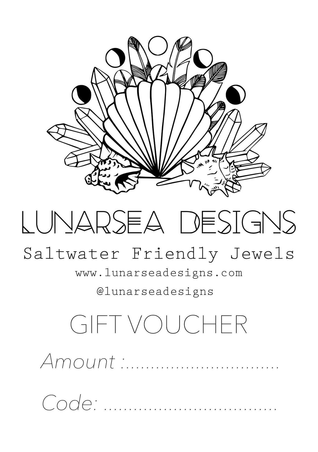 Gift Card Voucher $10, $25, $50 + $100, Gift Card with  by Lunarsea Designs