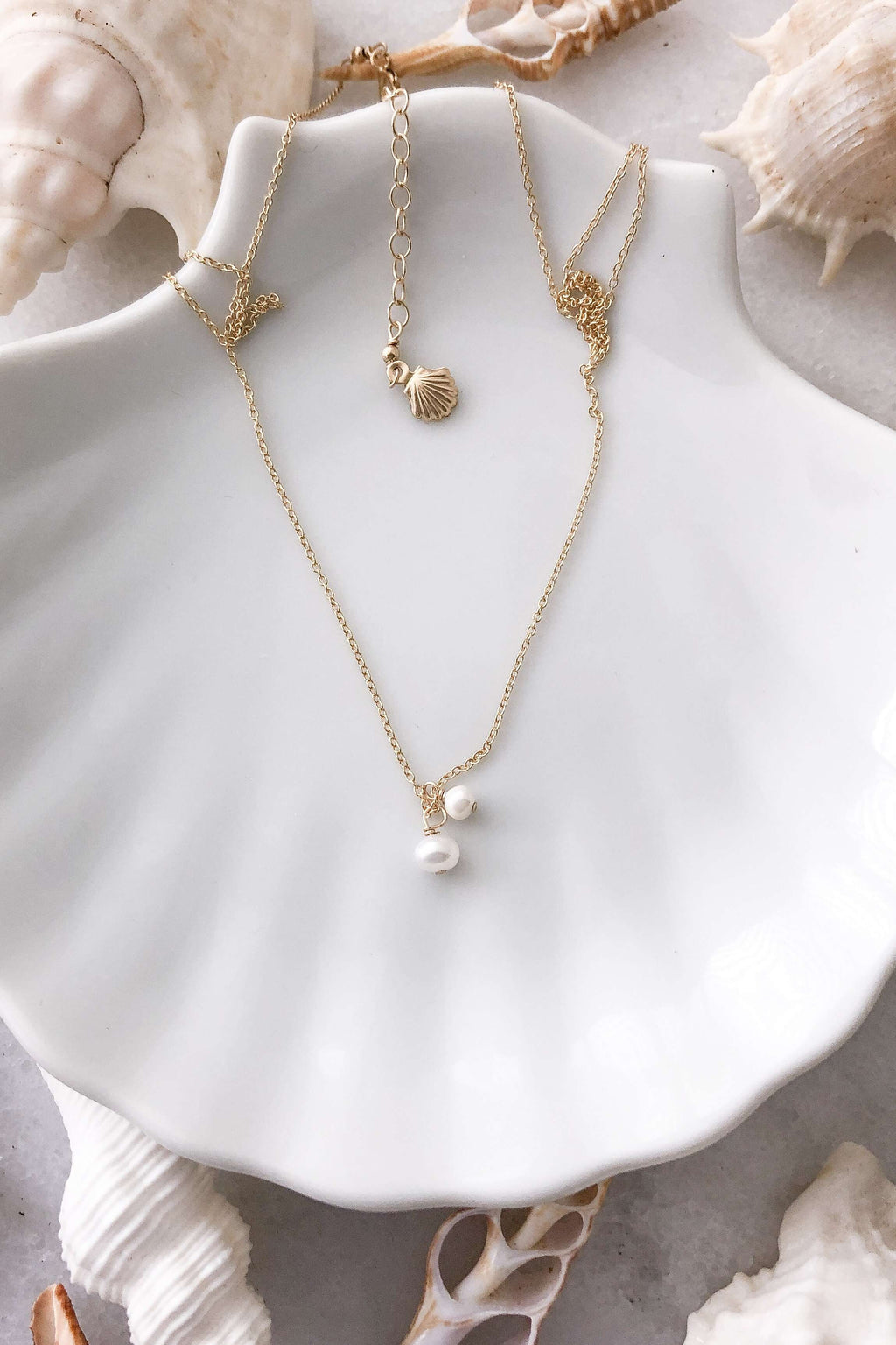Gold Fill Two Pearl Necklace, Necklace with  by Lunarsea Designs