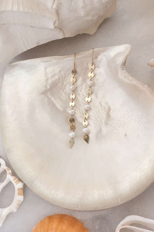 Gold Fill Pearl & Disc Chain Earrings, Earrings with  by Lunarsea Designs