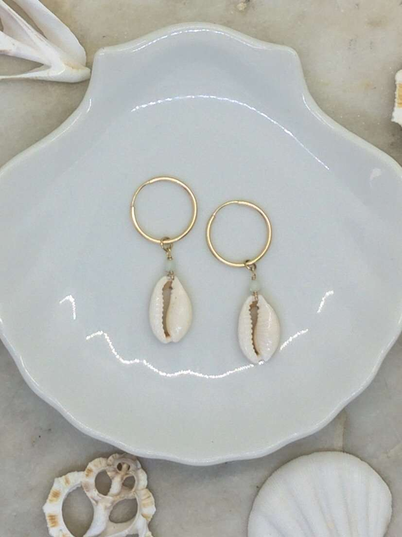 Gold Fill Cowrie Shell Hoops, Earrings with Amazonite by Lunarsea Designs