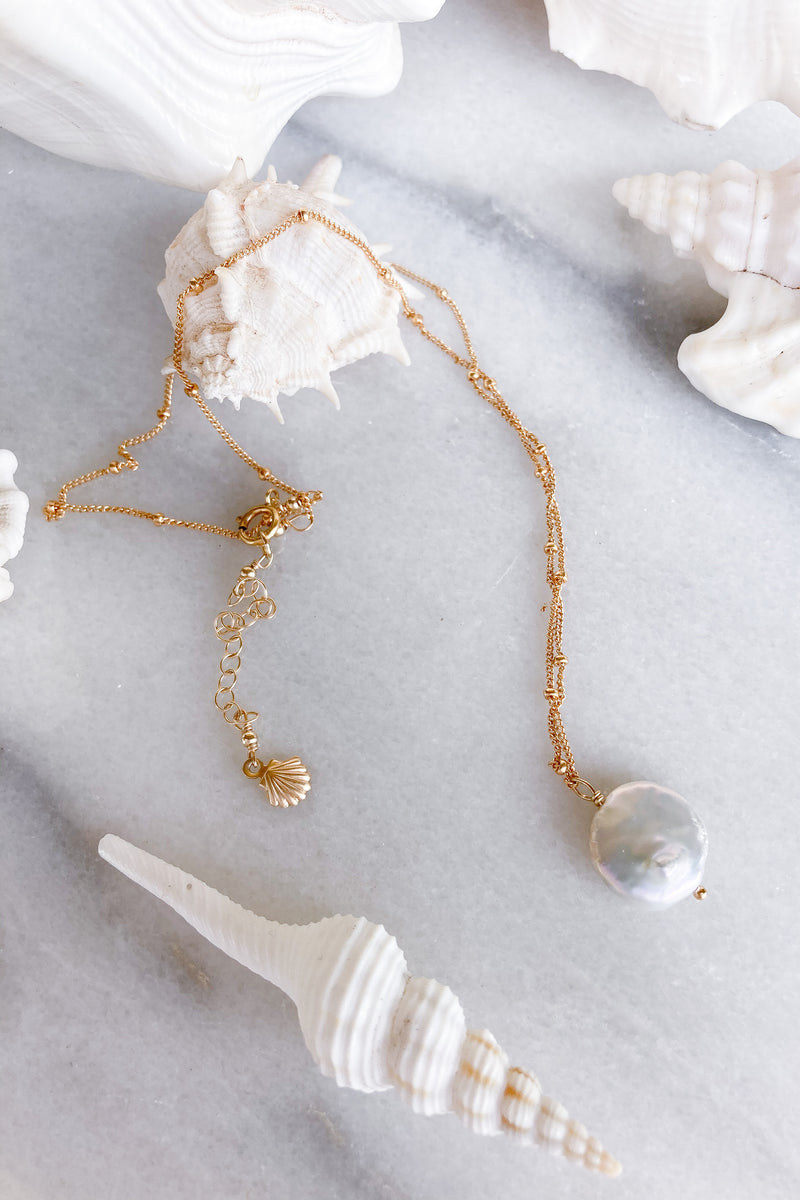 round pearl necklace gold
