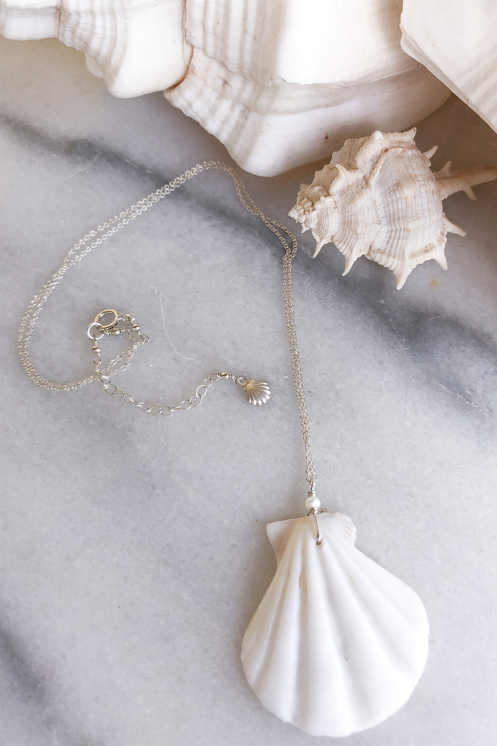 White Shell Necklace  - Sterling Silver