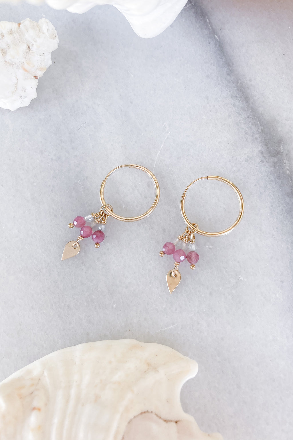gold hoops gemstones teardrop