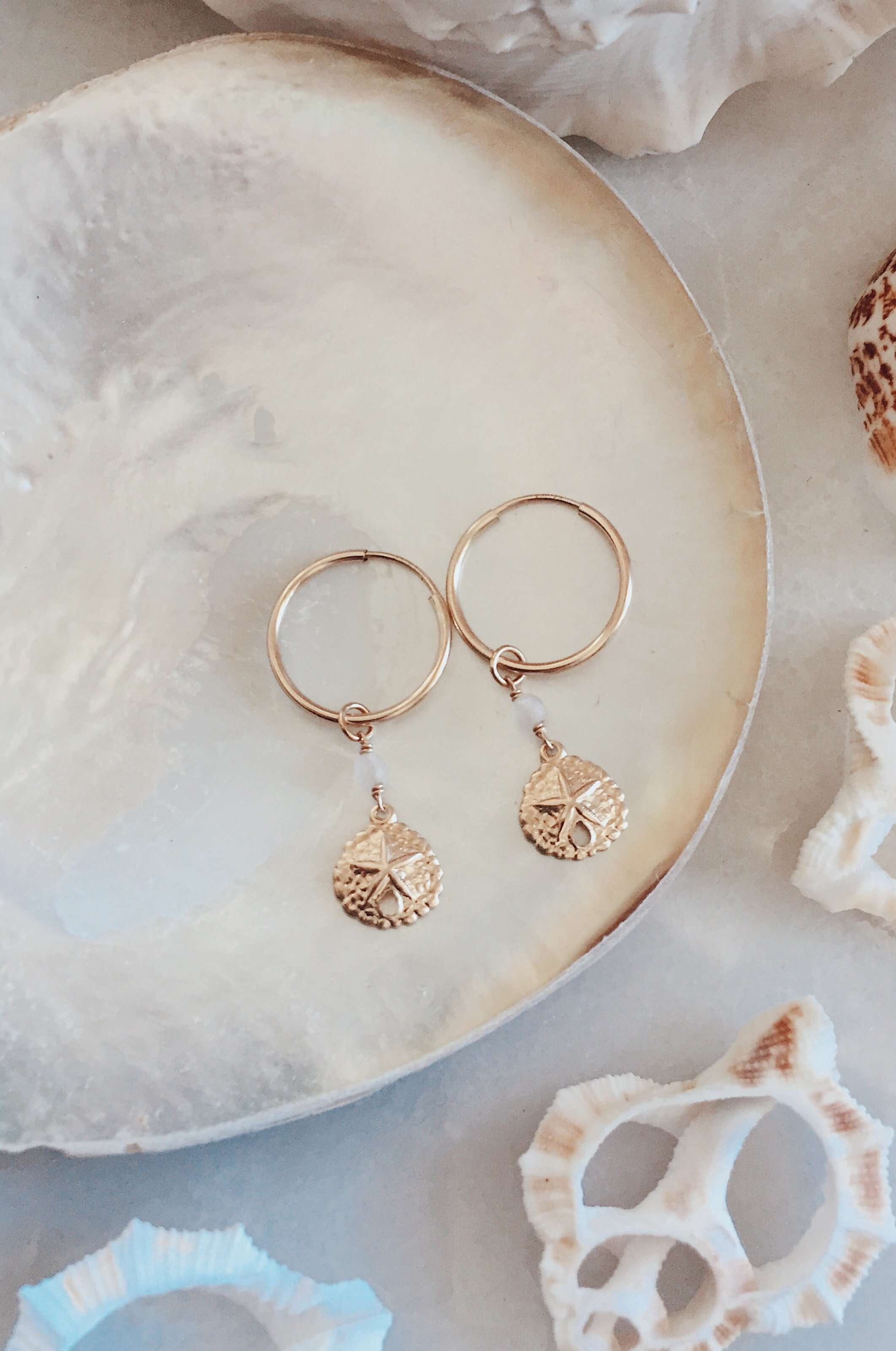 Gold Fill Sandollar Hoops, Earrings with Rose Quartz by Lunarsea Designs